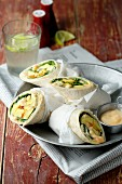 Roasted parsnip wraps and curry cream