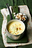 Cheese soup with sweetcorn and chilli popcorn