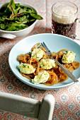 Parsley root dumplings with beer onions