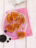 Spelt waffles with poppy seeds and fresh blackberries