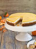 Mandarin cake, sliced