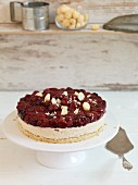 Macadamia nut cake with sour cherries
