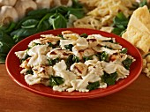Farfalle alfredo with spinach and chicken