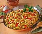 Prawn and chicken paella