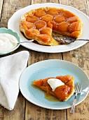 Apricot tarte tatin, sliced