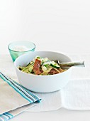 Pasta with bacon, courgettes and lemon