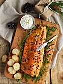 Baked side of salmon with horseradish cream (seen from above)