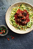 Meatballs with courgette paleo spagetti
