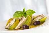 Green tomato salad with mozzarella and basil