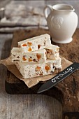 Orange turron with glazed chestnuts