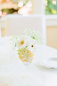 A bunch of white flowers decorating a table