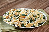 Farfalle pasta with a chicken and spinach sauce