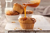 Toffee muffins with caramel sauce
