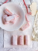 Homemade, two-tone strawberry marshmallows