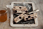Chocolate turron with cherries