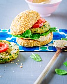 A veggie burger with chickpea cream