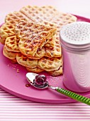 Amarena waffles with icing sugar