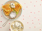Advocaat waffles with blueberry cream