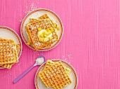 Coconut waffles with mango