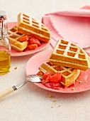 Mascarpone waffles with rhubarb