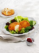 Baked Camembert with cranberries and a mixed leaf salad