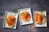 Marinated salmon on potato crisps