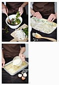 Puff pastry strudel with spinach and cheese being made