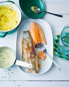 Fish with a creamy mustard sauce and mashed potatoes