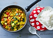Vegetable curry with jasmine rice