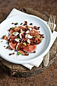 Fig carpaccio with cream cheese