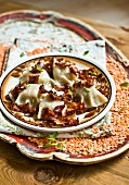 Piroggen (steamed dough parcels) with lentils and bacon