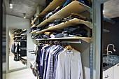Ankleideraum mit offenem Schranksystem, auf Kleiderstange gehängte Hemden, oberhalb Ablagen