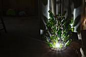 Illuminated empty wine bottles in a wine cellar