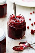 Cranberry jam in jar