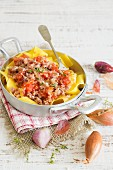 Pappardelle con la salsiccia (pasta with sausage and shallots, Italy)