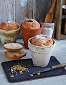 Quark bread with walnuts baked in terracotta pots