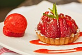 A strawberry tartlet and strawberry sorbet