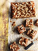 Brownies with caramel glaze and peanuts