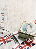 British bunting and a commemorative tin