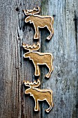 Reindeer-shaped gingerbread biscuits on a wooden surface