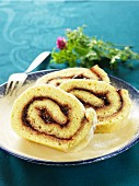 Swiss roll with plum jam