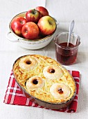 Quark bake with apples and quince jelly