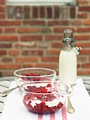 Red fruit compote with cream