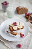 Banana bread with frozen raspberries and fresh bananas