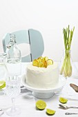 Lime cake and limeade on a table