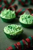 Green Christmas cupcakes