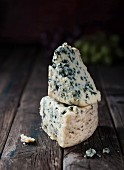 Blue cheese on a wooden surface