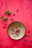 Raspberries, redcurrants, gooseberries and wild strawberries on a plate