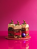 Fruit cake decorated with reindeer for Christmas