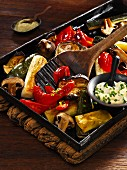 Colourful roasted vegetables with garlic mayonnaise